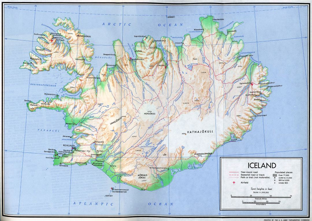 Large detailed political map of Iceland with relief, roads, cities and airports - 1970