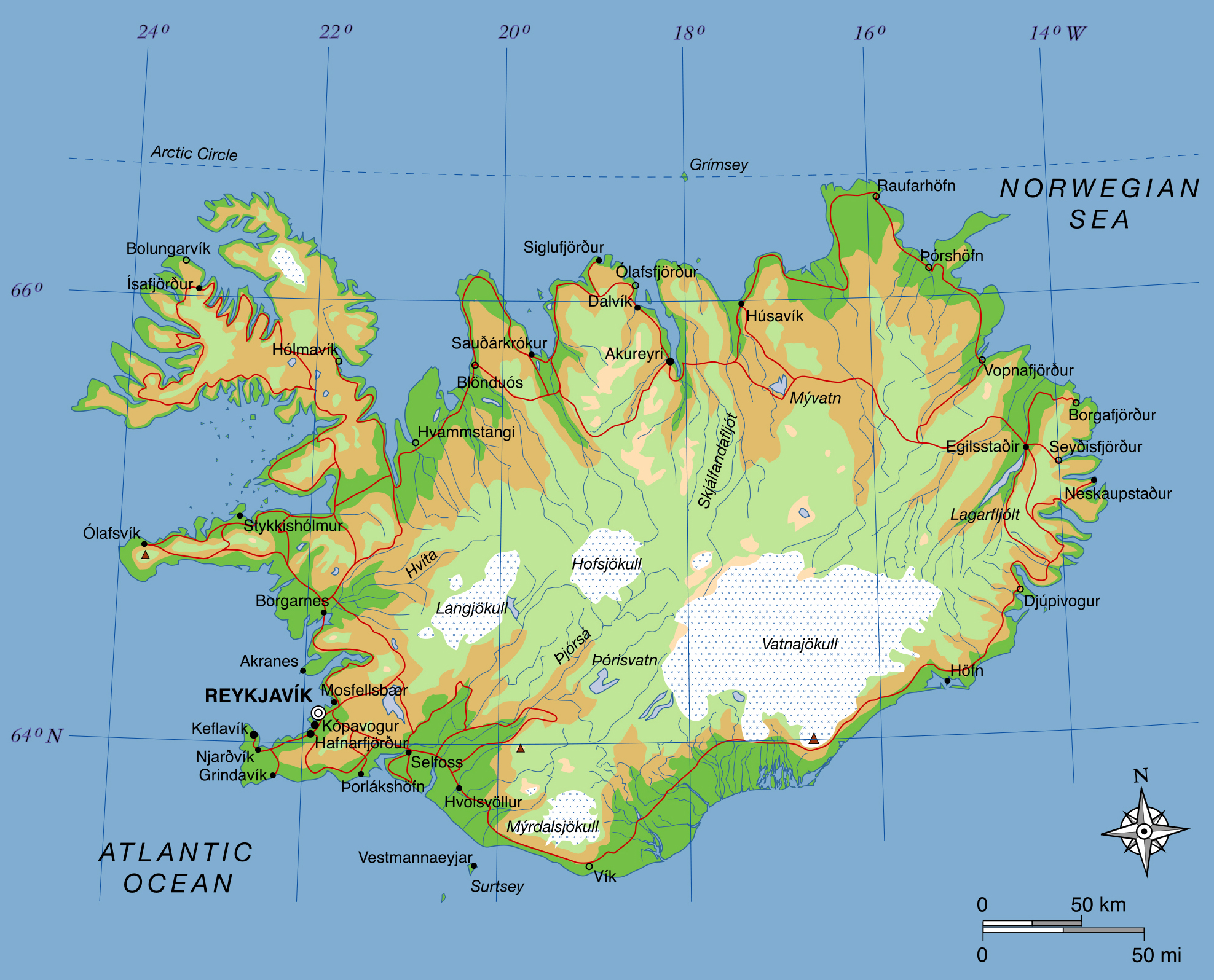 Large elevation map of iceland with roads iceland europe large elevation map of iceland with roads gumiabroncs Choice Image