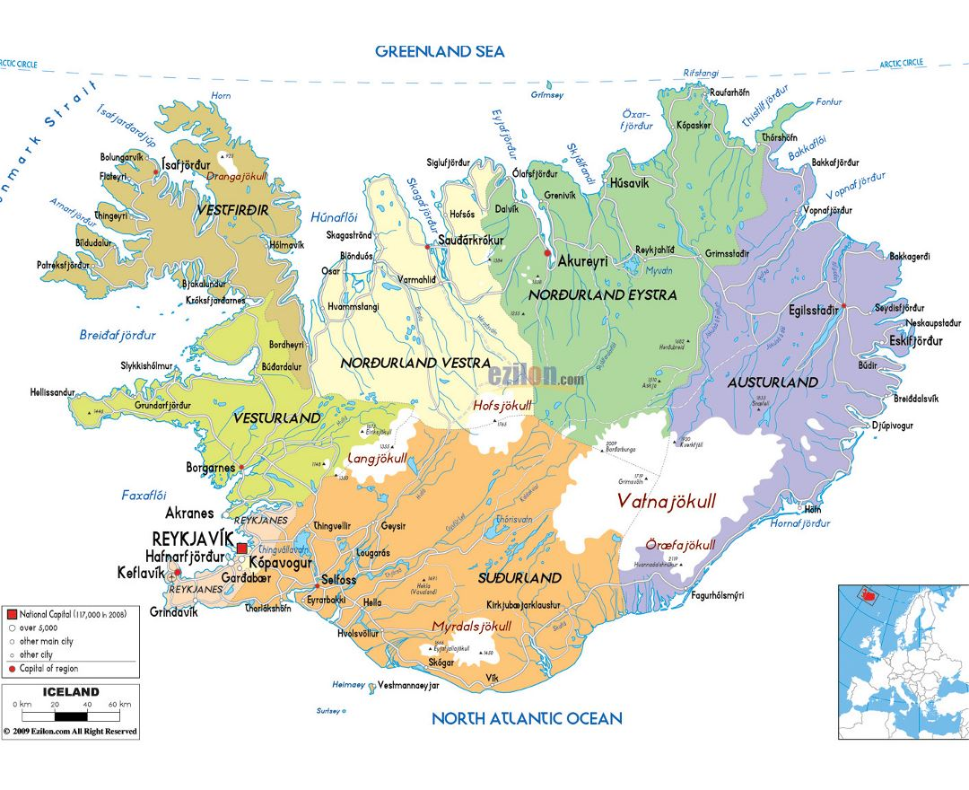 Maps of iceland detailed map of iceland in english tourist map large political and administrative map of iceland with roads cities and airports gumiabroncs Gallery