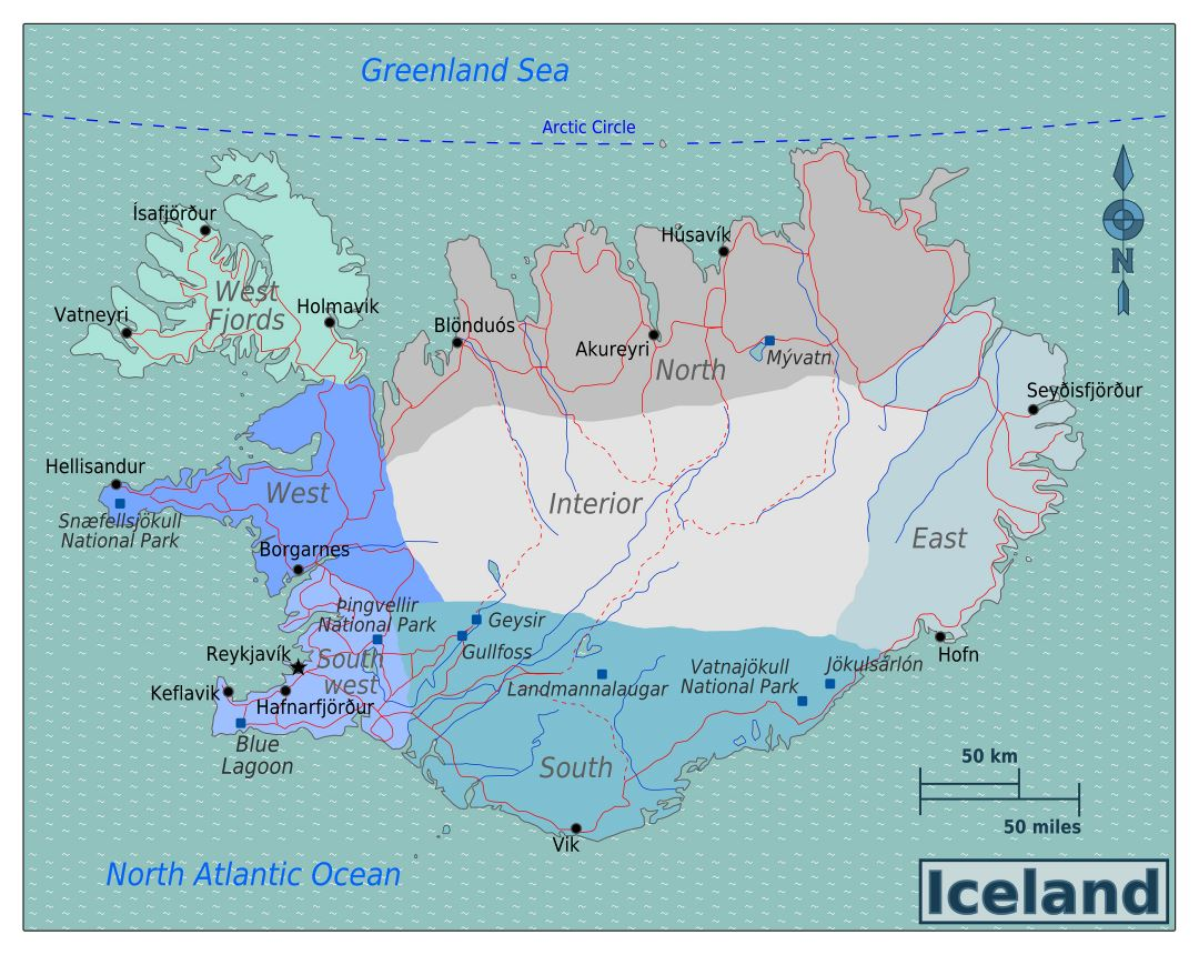 Large regions map of Iceland