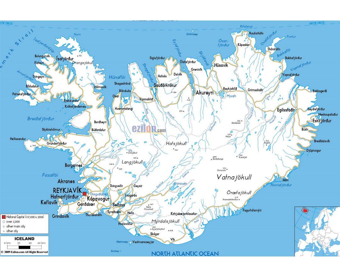 Maps Of Iceland Detailed Map Of Iceland In English Tourist Map - Airports in iceland