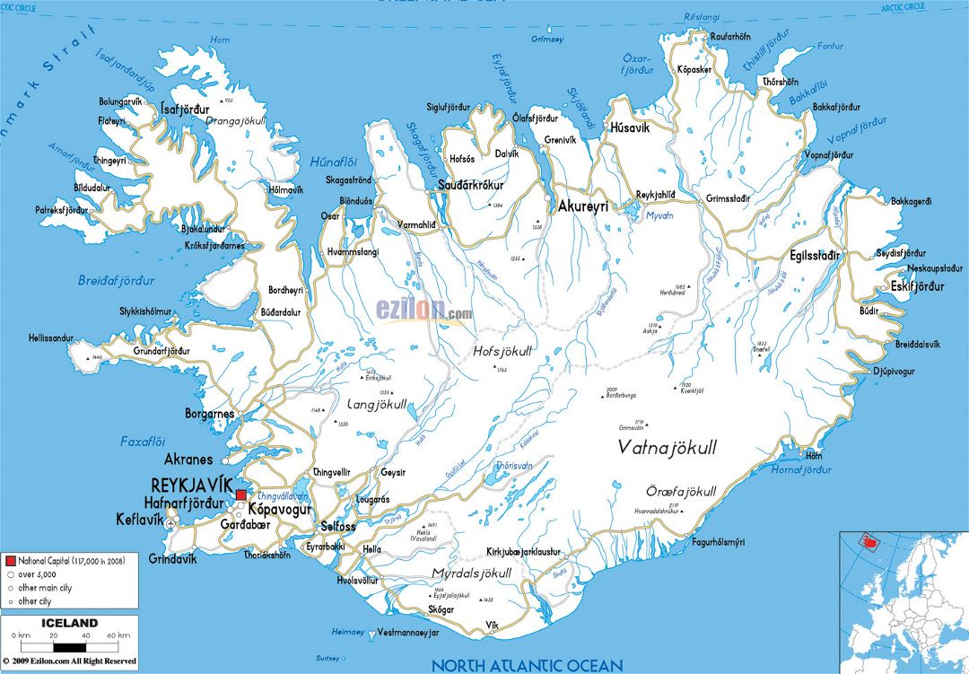 Large road map of Iceland with cities and airports