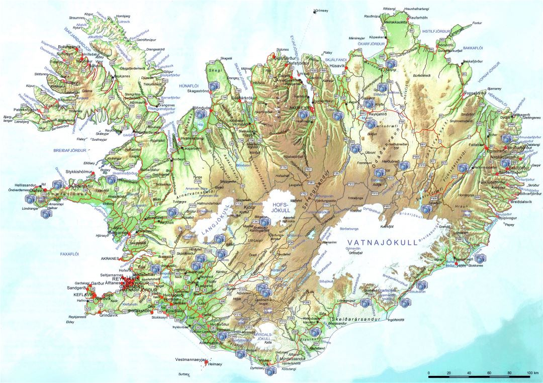 Large scale road map of Iceland with relief, cities and photo locations