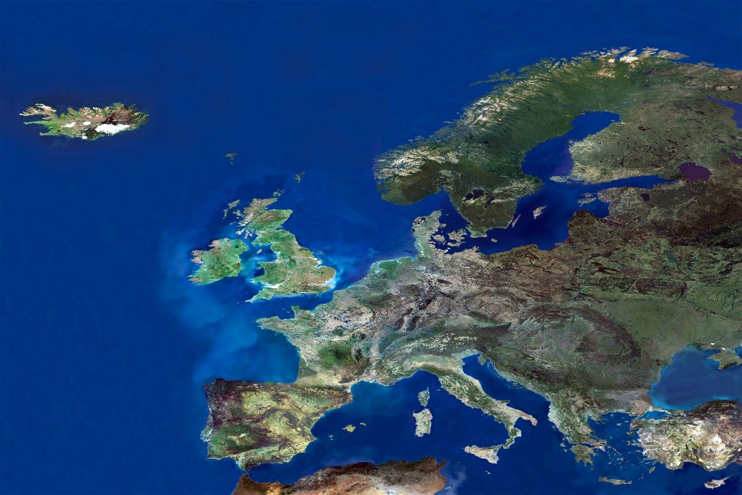 In high resolution detail satellite photo of Europe