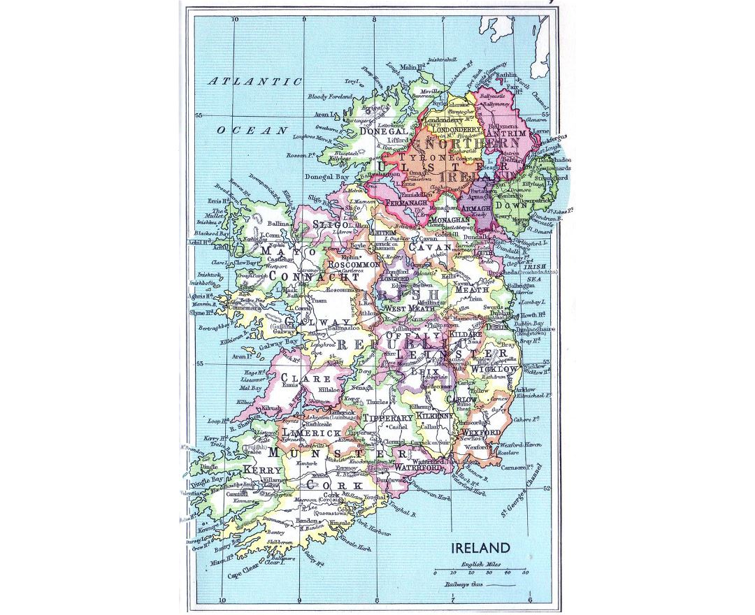 Detailed administrative map of Ireland - 1961