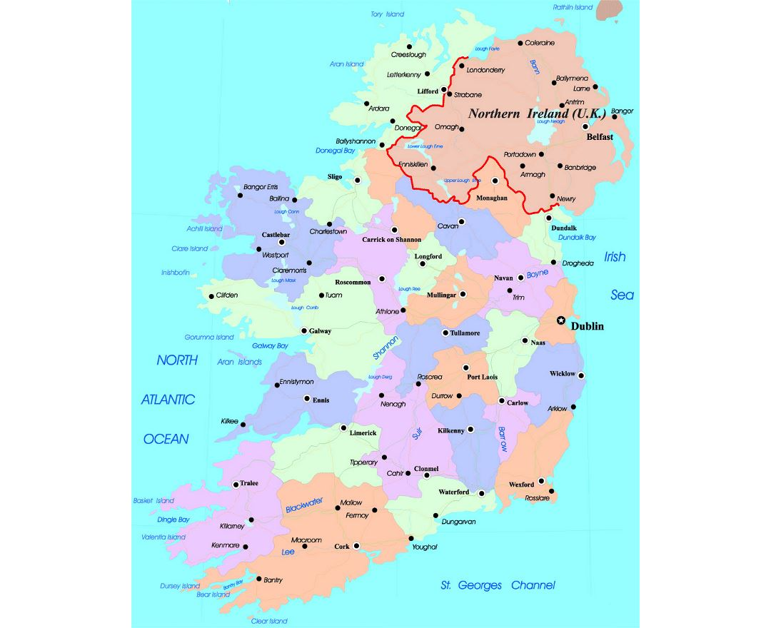 Detailed administrative map of Ireland with major cities