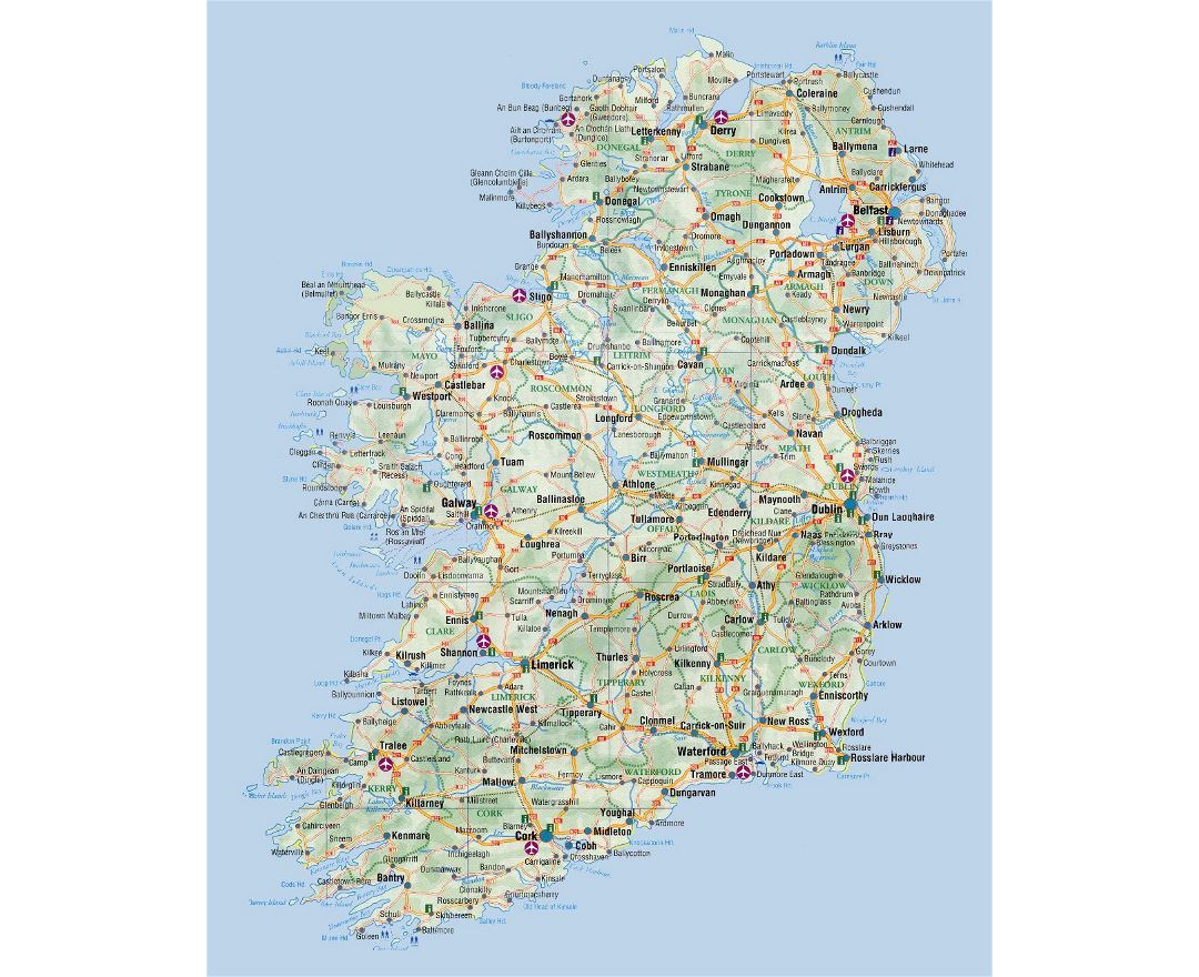 Detailed elevation and road map of Ireland with cities and airports