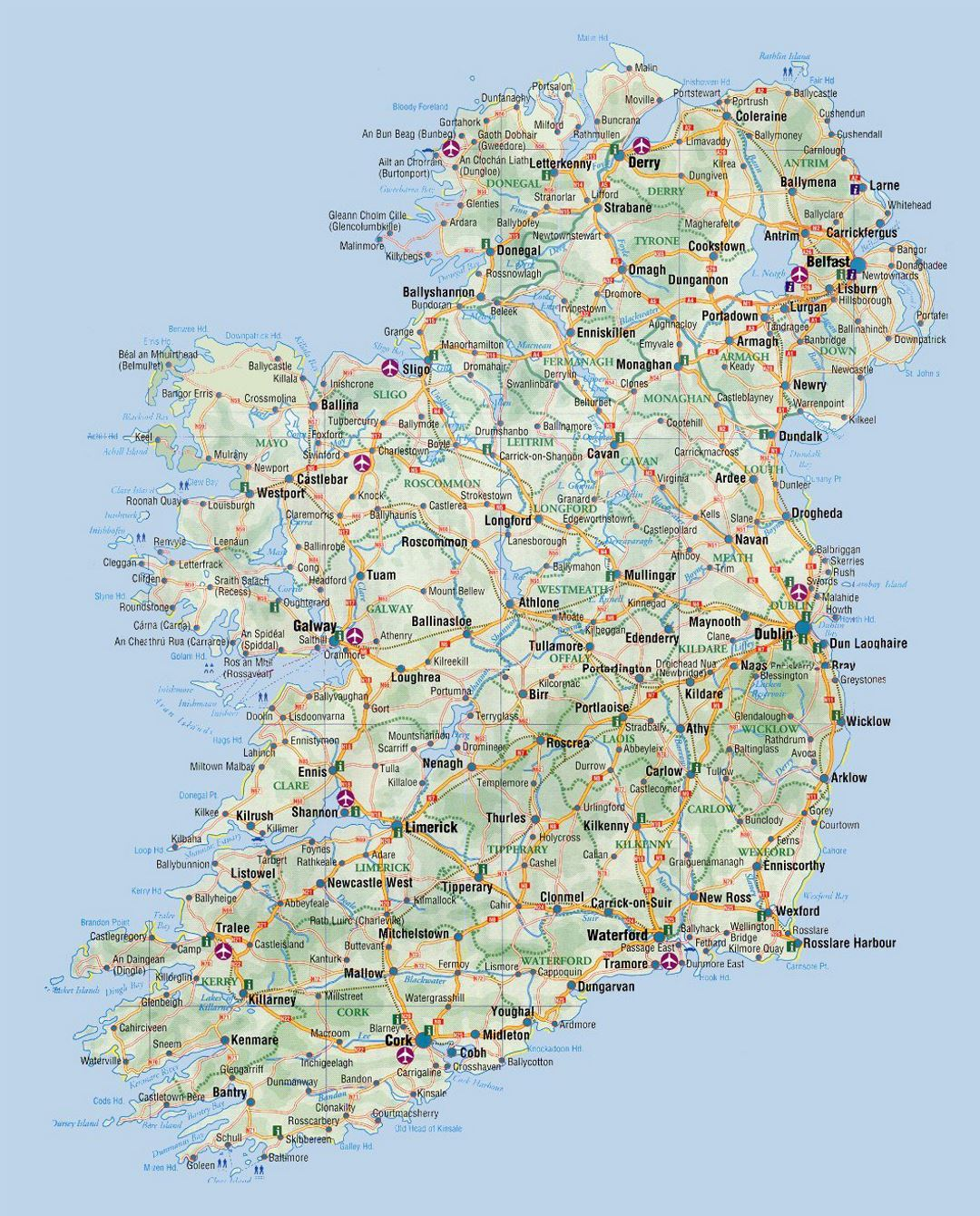 Map Of Ireland With Airports.Detailed Elevation And Road Map Of Ireland With Cities And Airports