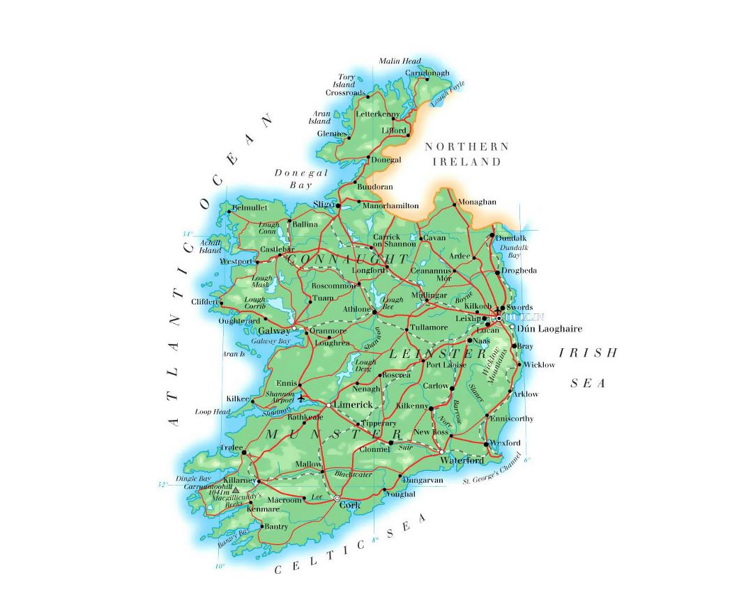 Detailed elevation map of Ireland with roads, cities and airports