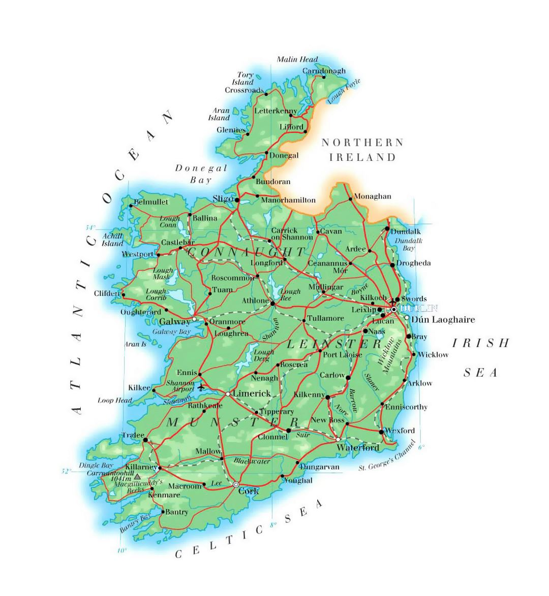 Map Of Ireland Showing Athlone.Detailed Elevation Map Of Ireland With Roads Cities And Airports