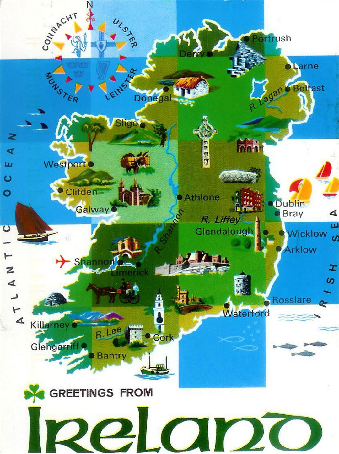 Detailed illustrated map of Ireland
