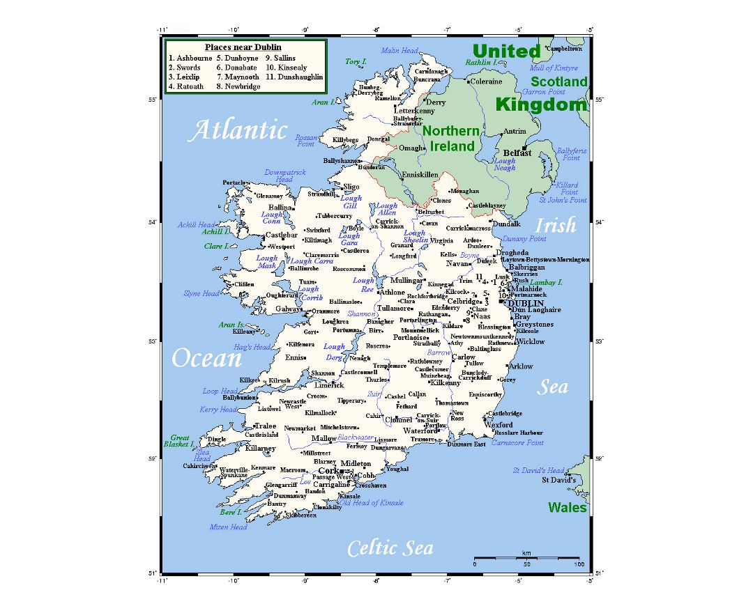 Detailed map of Ireland with cities