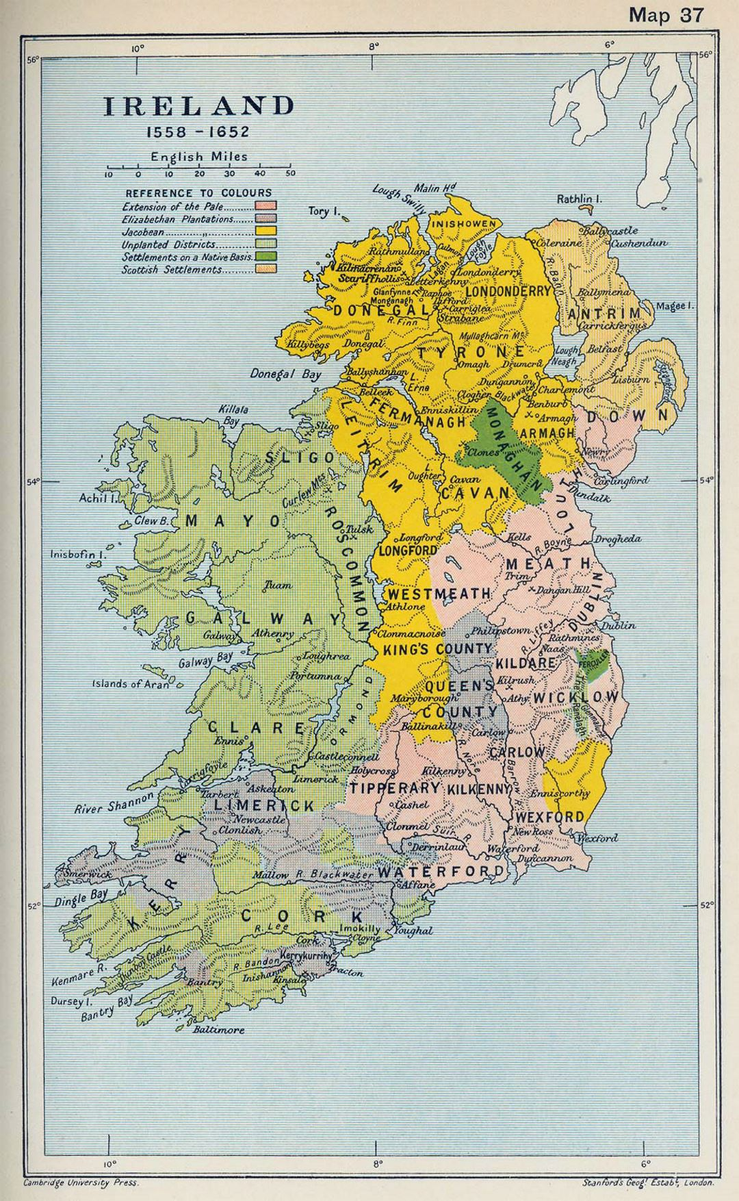 Detailed old map of Ireland - 1558 1652