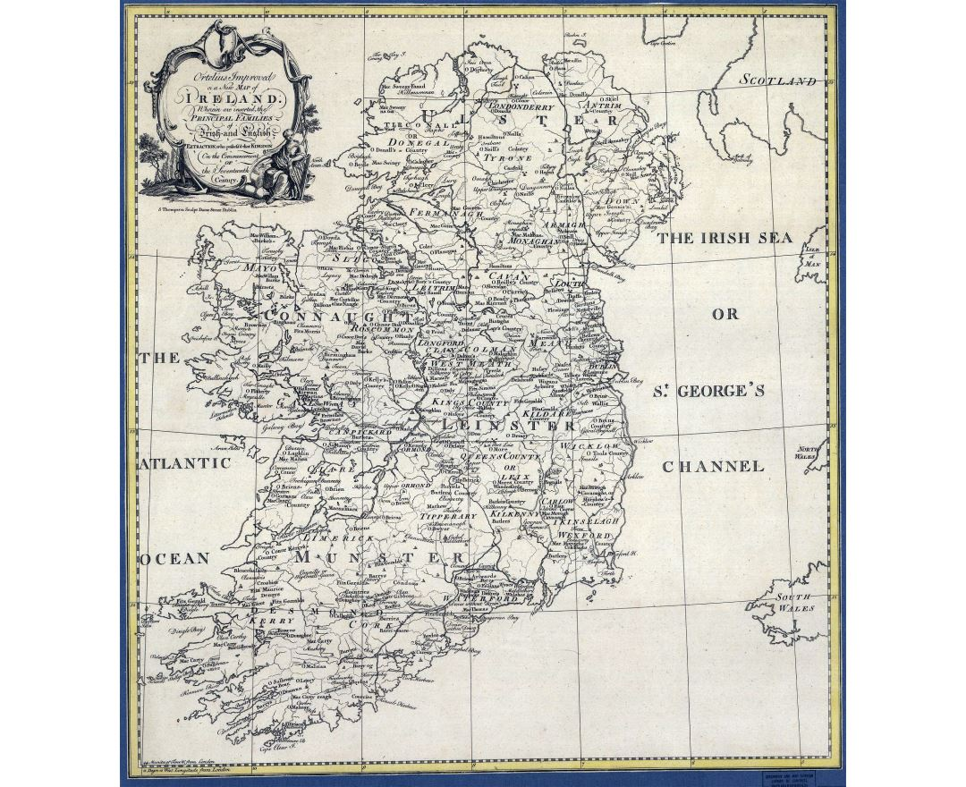Detailed old political and administrative map of Ireland - 1795