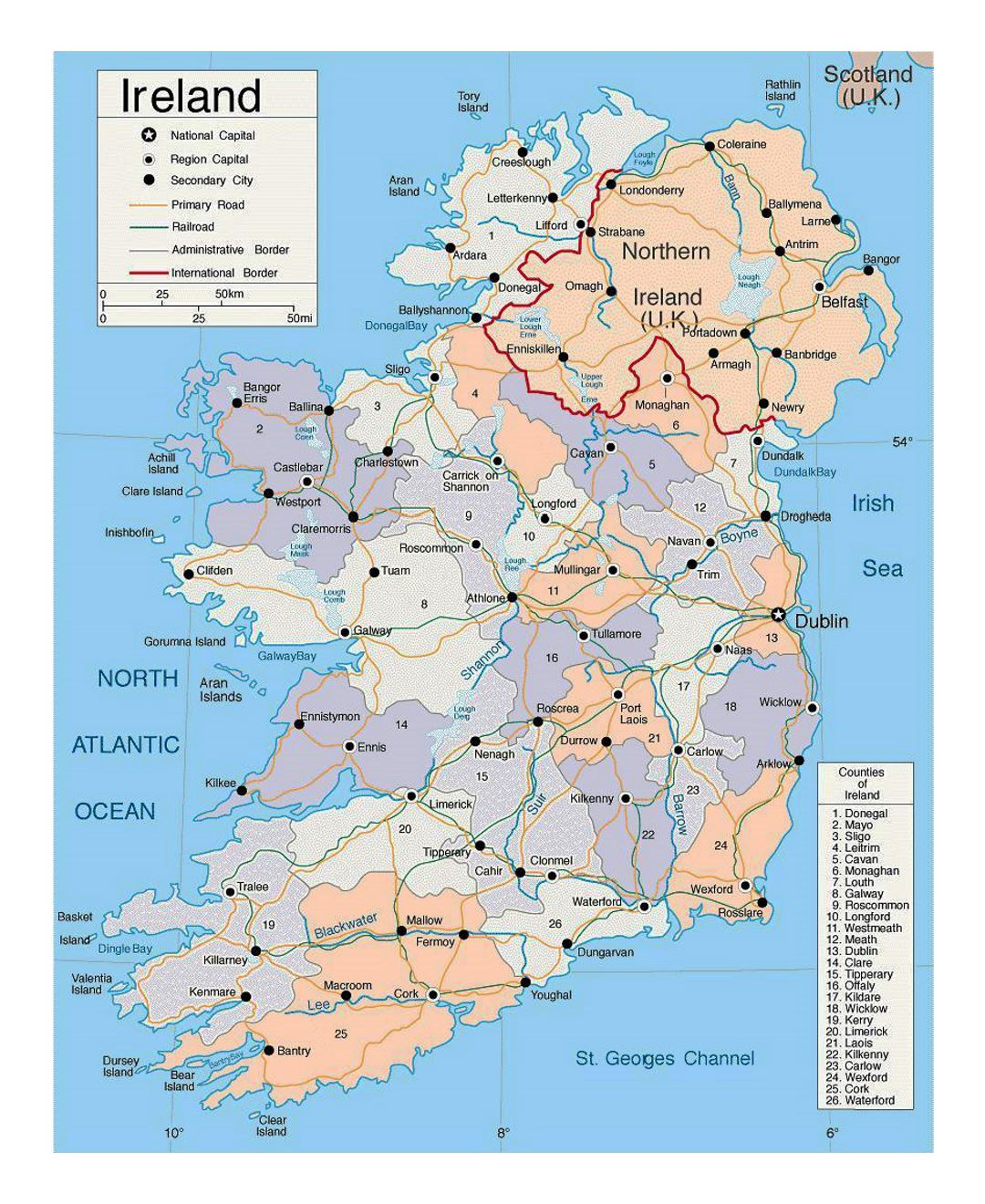 Detailed political and administrative map of Ireland with roads and major cities