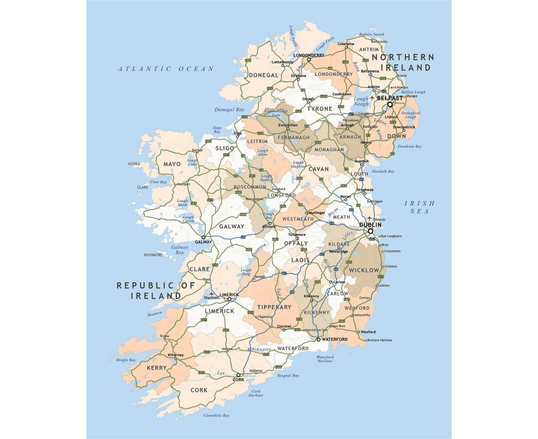 Large administrative map of Ireland with highways and major cities