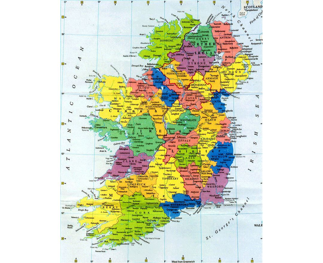 Large administrative map of Ireland with major cities