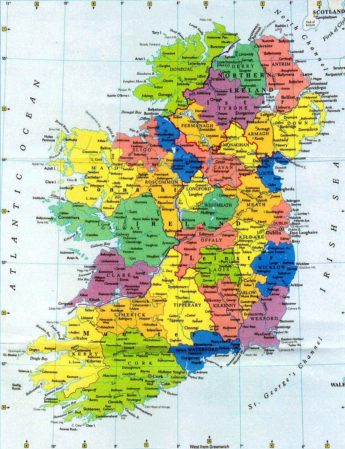 Map Of Ireland Major Cities.Large Administrative Map Of Ireland With Major Cities Ireland