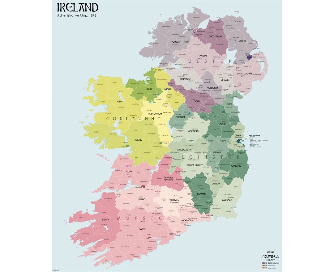 Large detailed administrative divisions map of Ireland