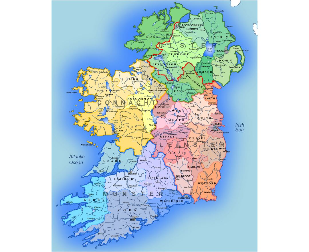 Large detailed administrative map of Ireland