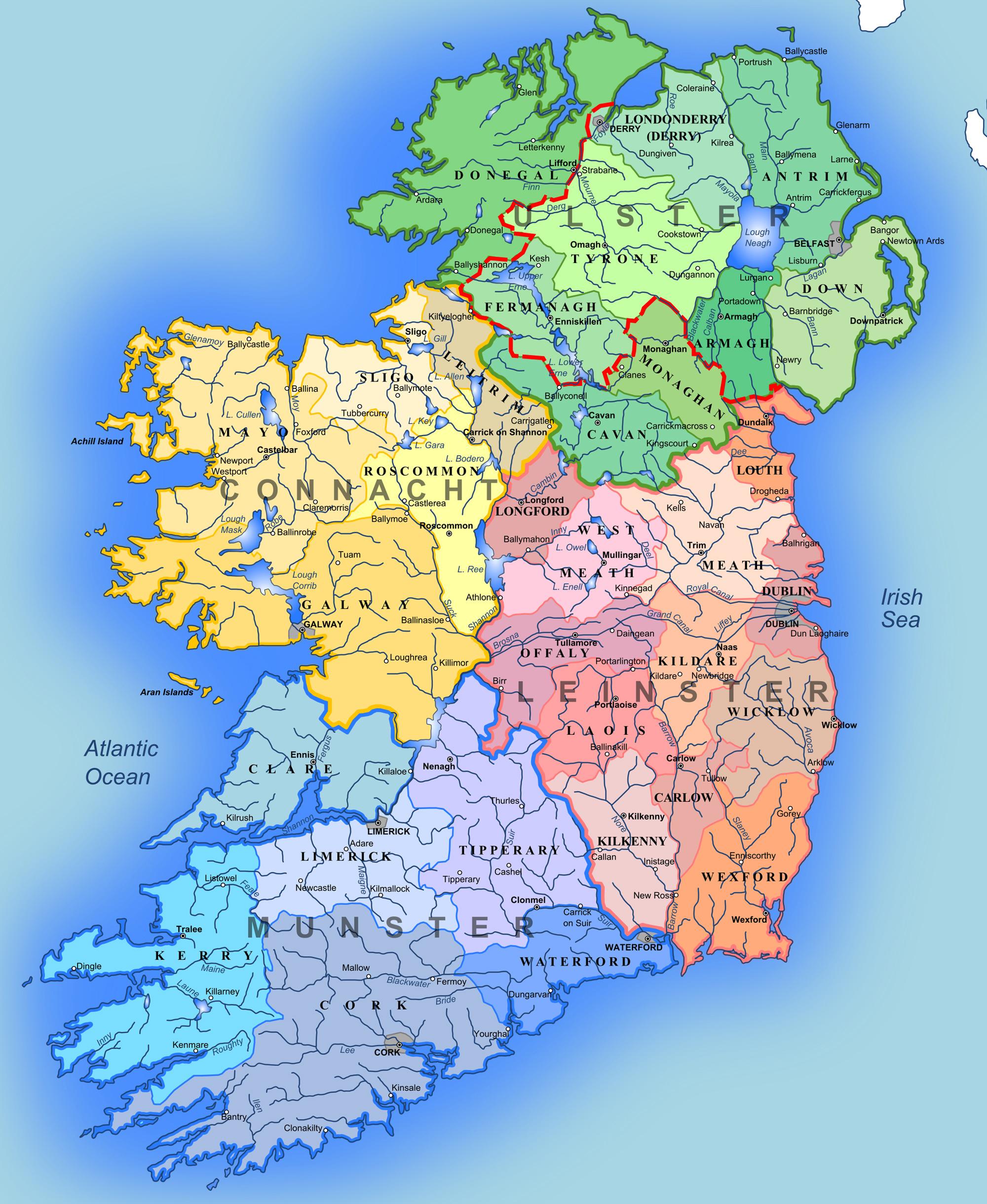 Large detailed administrative map of Ireland Ireland Europe Mapsland