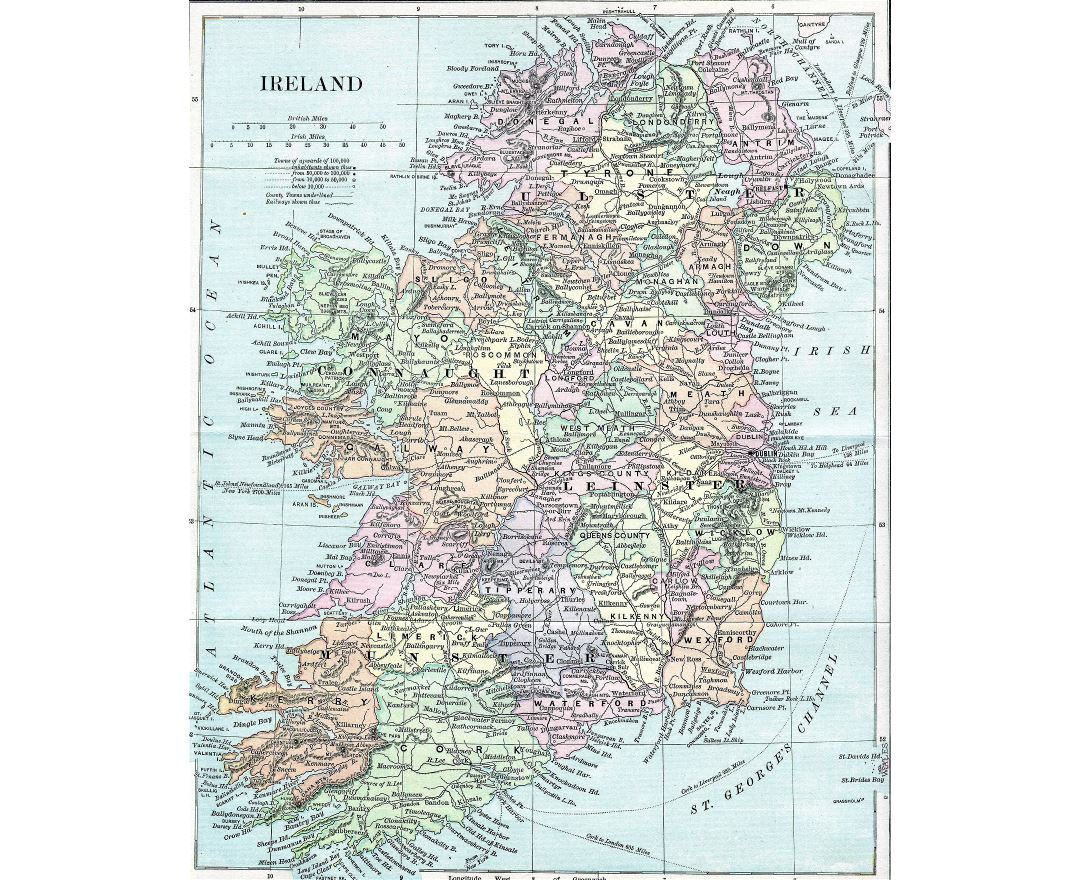 Large detailed old map of Ireland