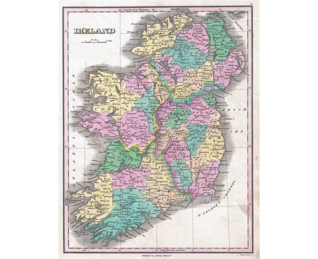 Large detailed old political and administrative map of Ireland - 1827