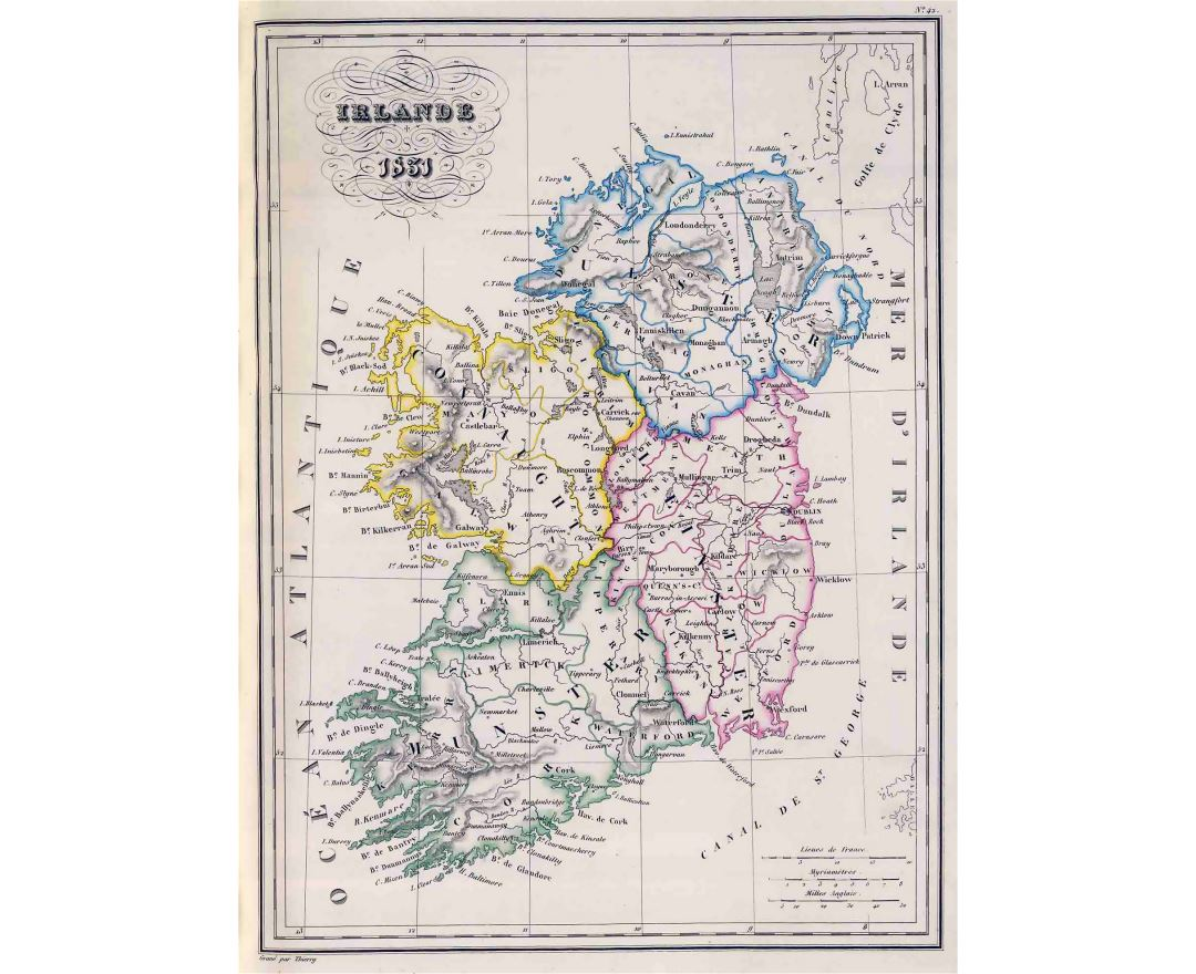Large detailed old political and administrative map of Ireland - 1831