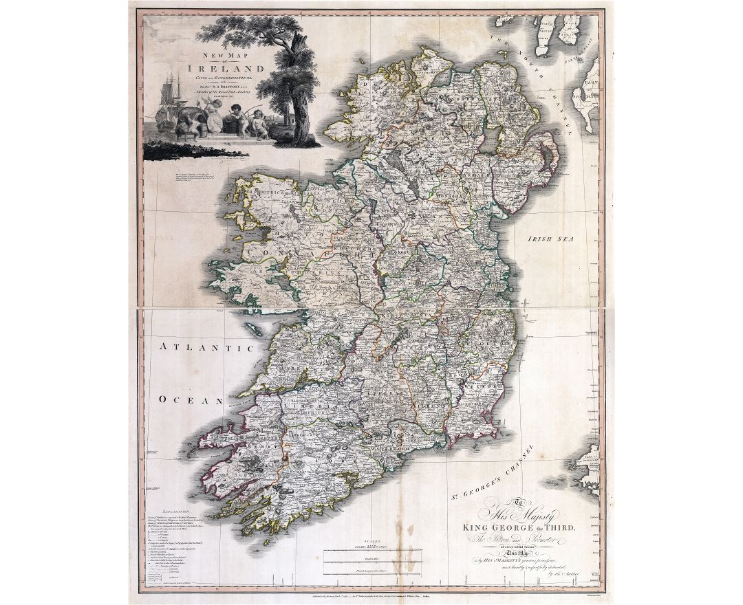 Large detailed old political and administrative map of Ireland with cities - 1797