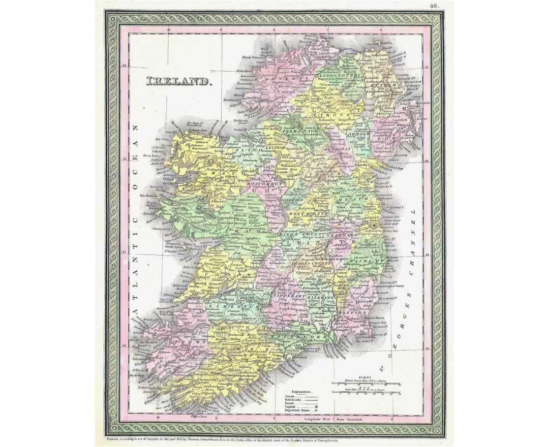 Large detailed old political and administrative map of Ireland with relief, roads, railroads and cities - 1850