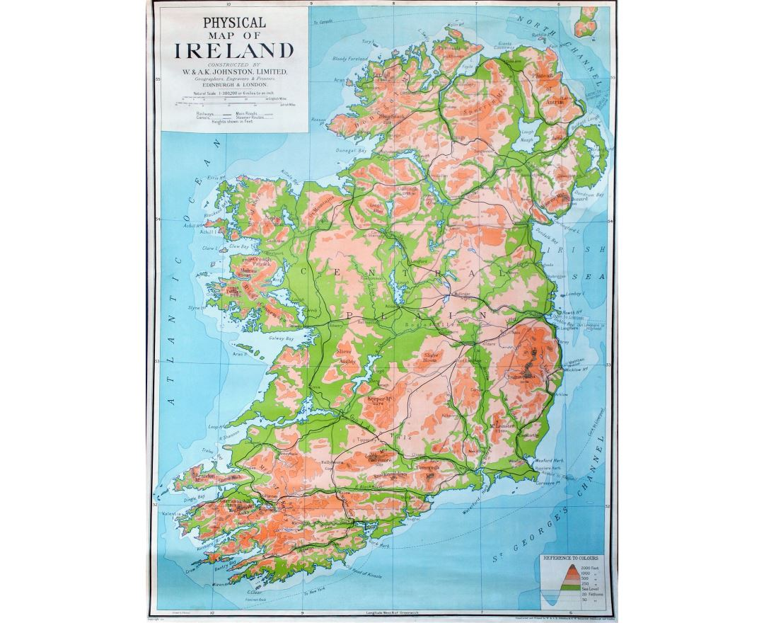 Large detailed physical map of Ireland