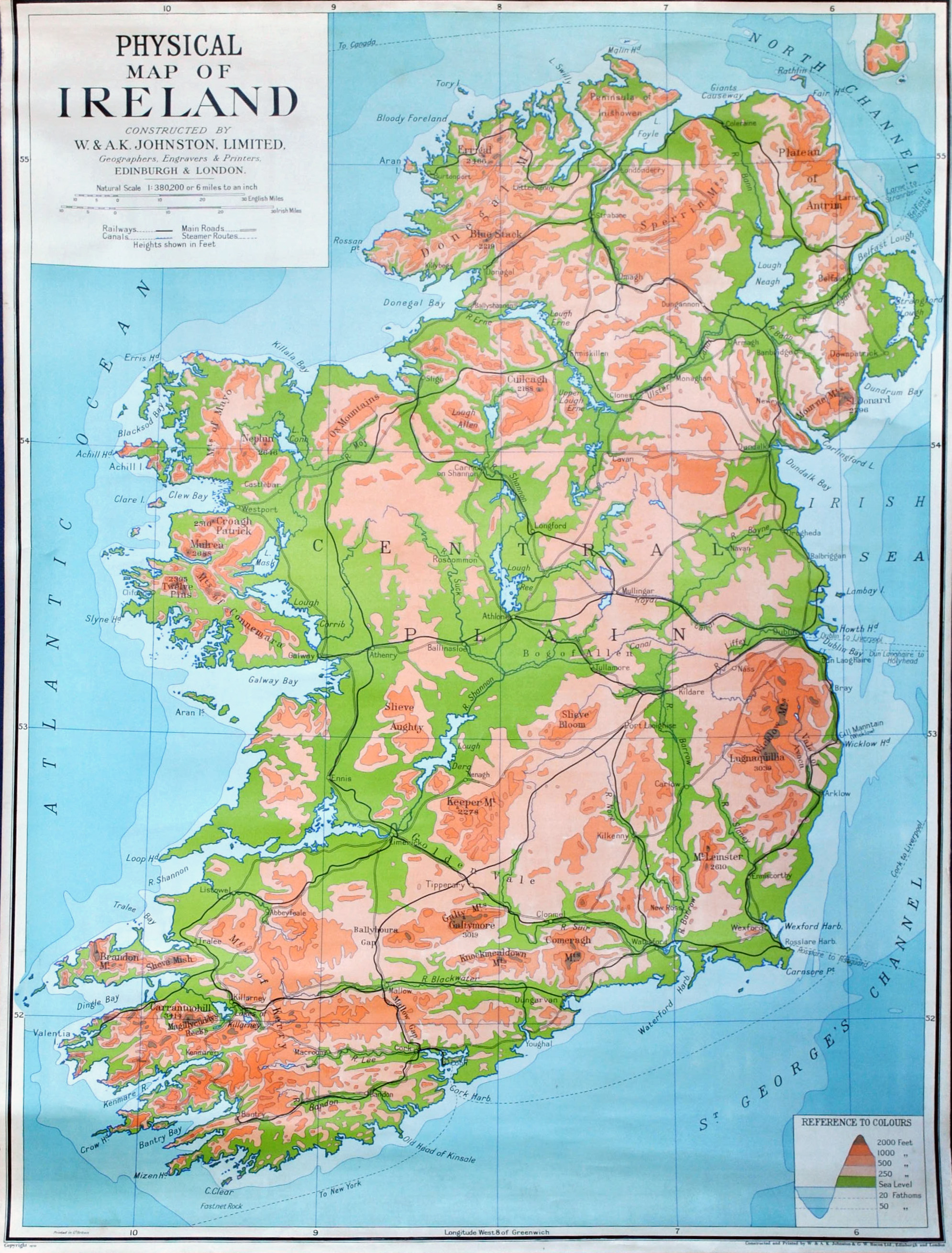 Large Detailed Physical Map Of Ireland Ireland Europe - A physical map