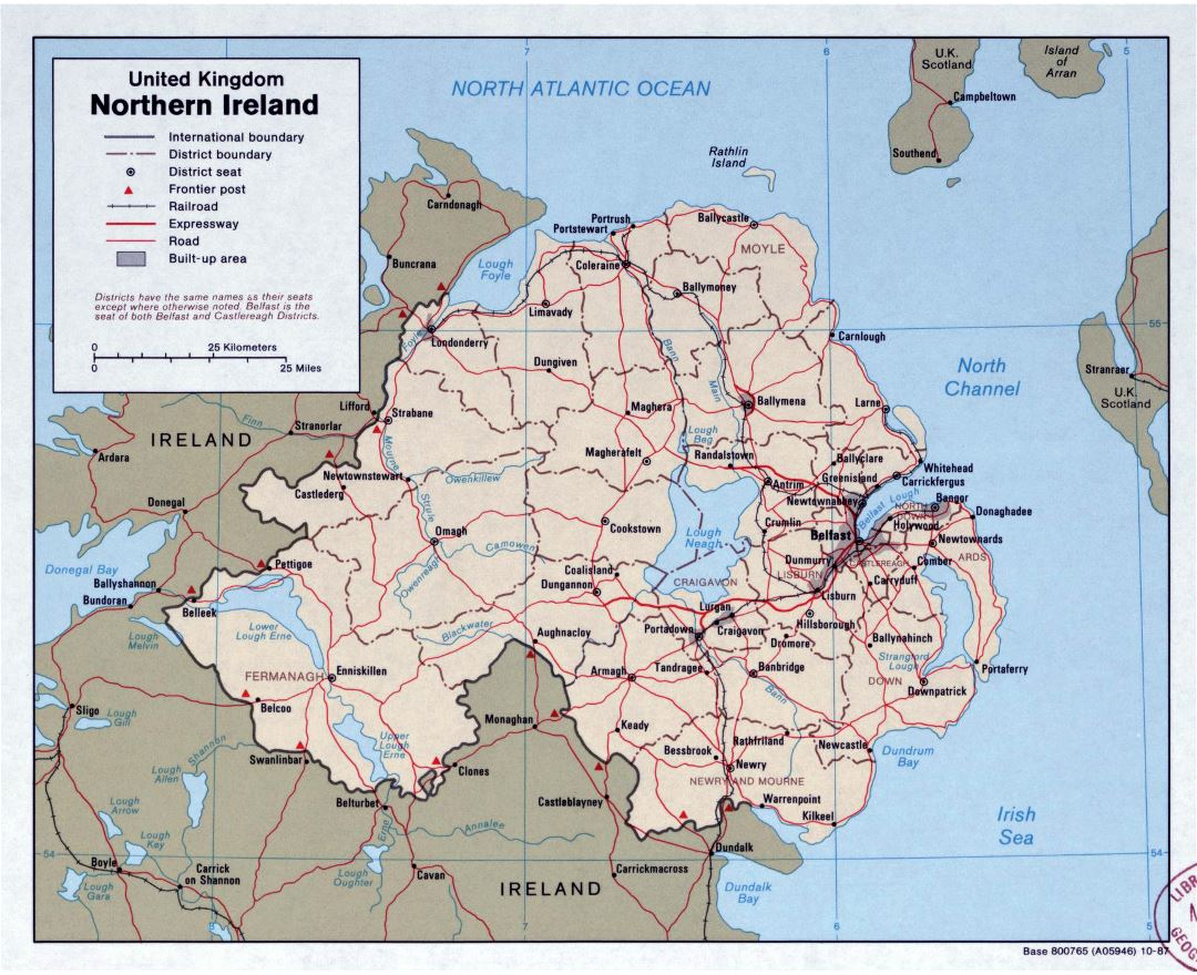 Large detailed political and administrative map of Northern Ireland with roads and major cities - 1987
