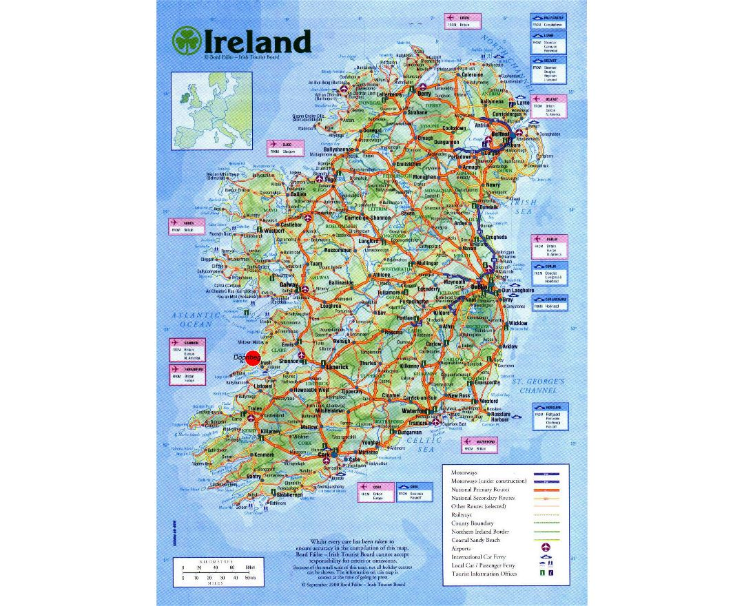 Large detailed road map of Ireland with cities, airports and other marks