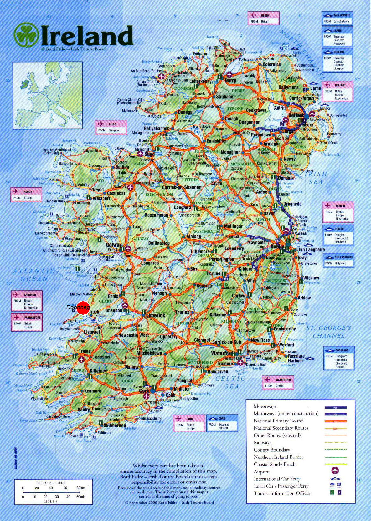 Large detailed road map of Ireland with cities airports and other