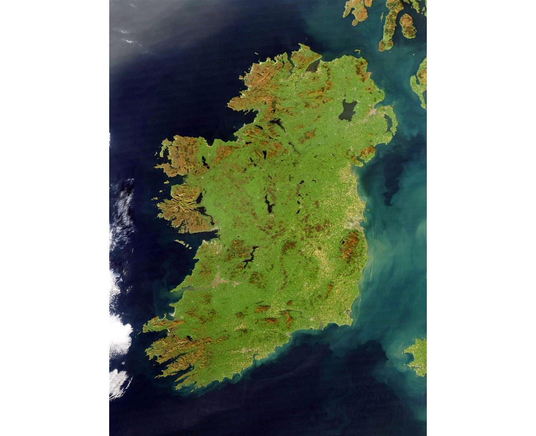 Large detailed satellite map of Ireland