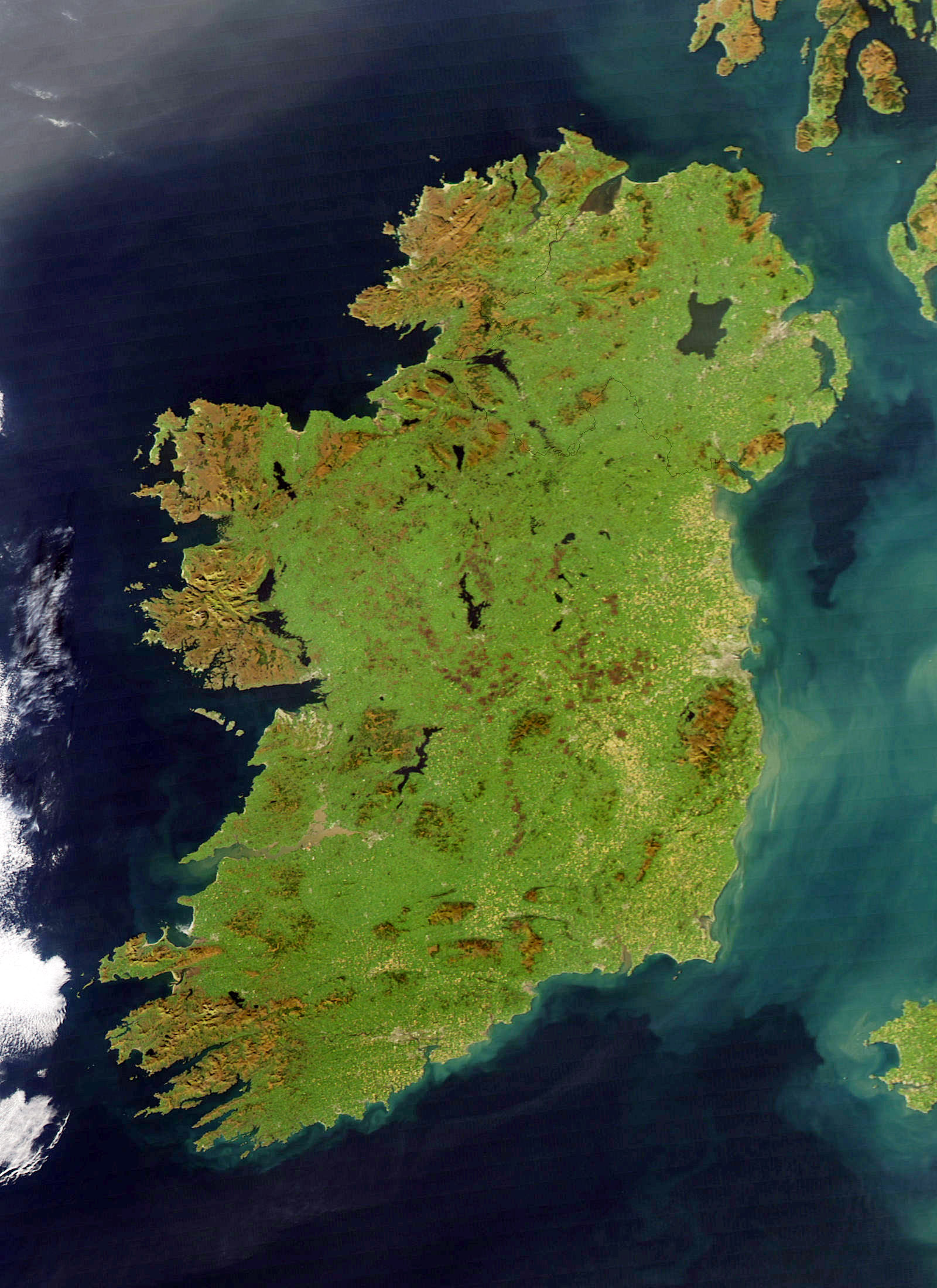 Large Detailed Satellite Map Of Ireland Ireland Europe - Maps earth satellite
