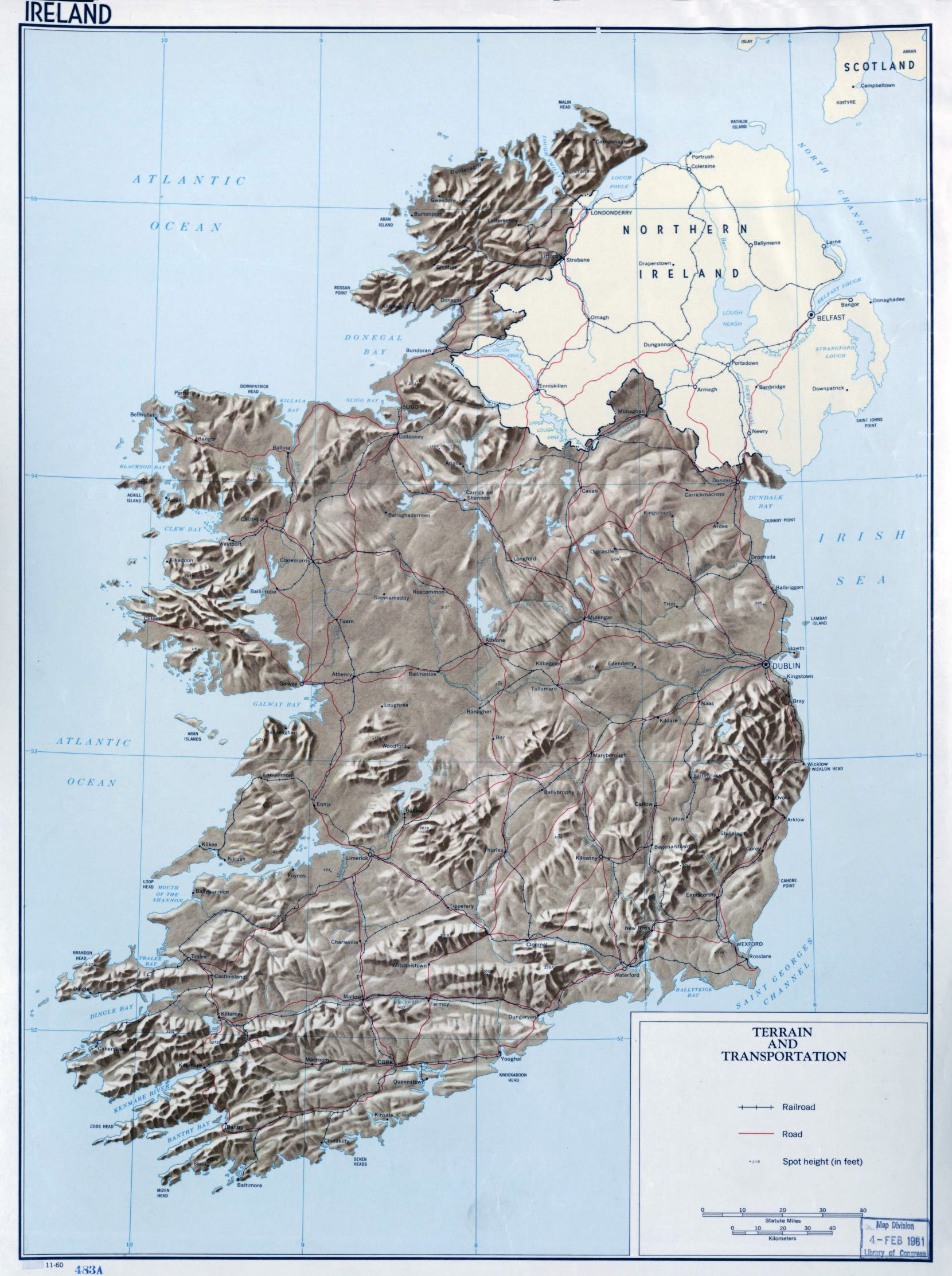 Large Detailed Terrain And Transportation Map Of Ireland 1960