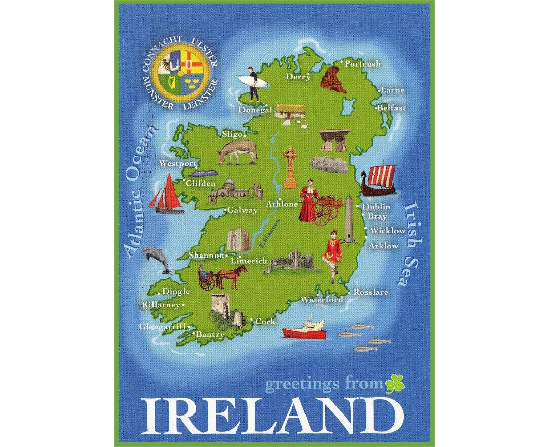Large detailed tourist illustrated map of Ireland