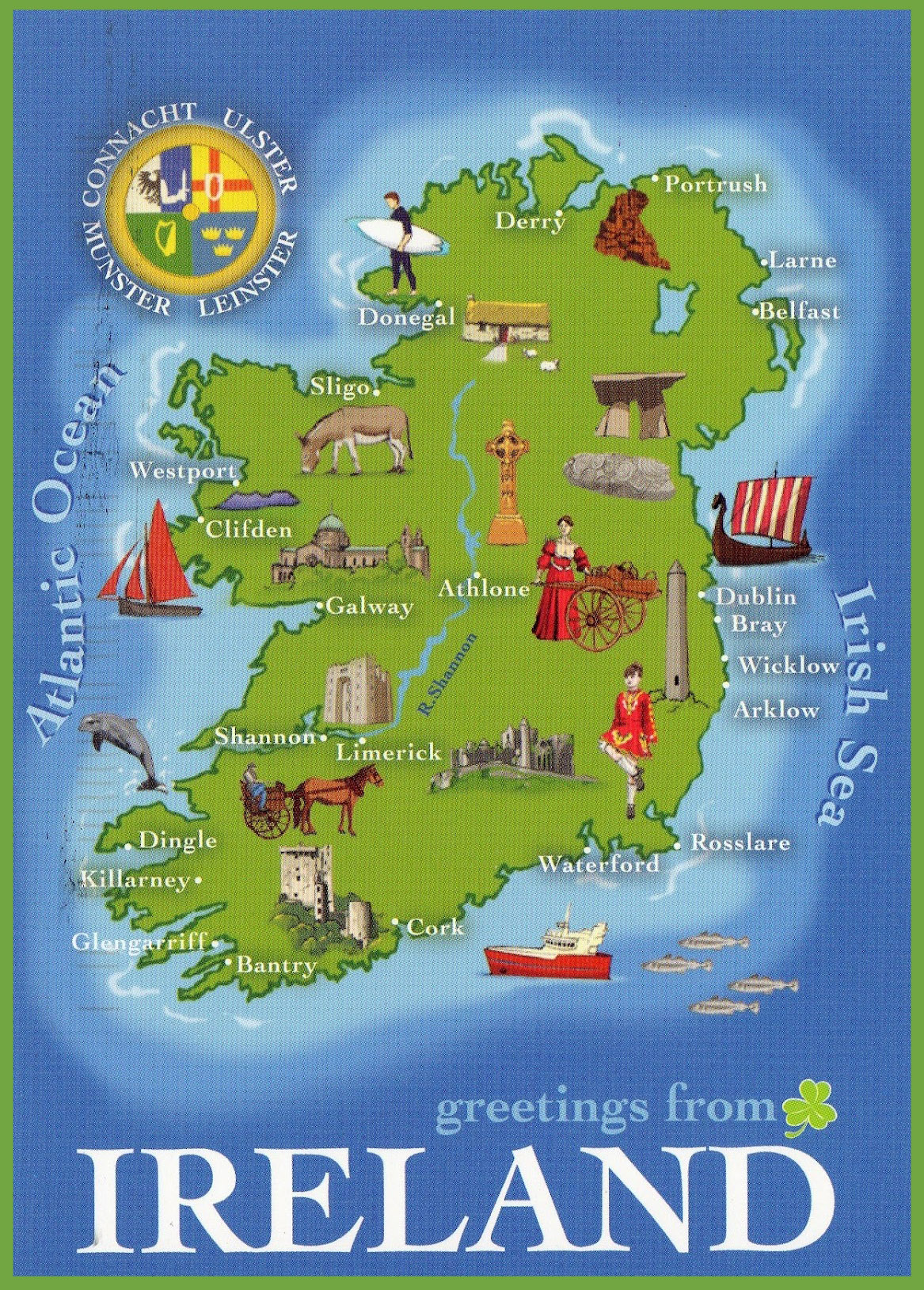 Images Of Map Of Ireland.Large Detailed Tourist Illustrated Map Of Ireland Ireland Europe