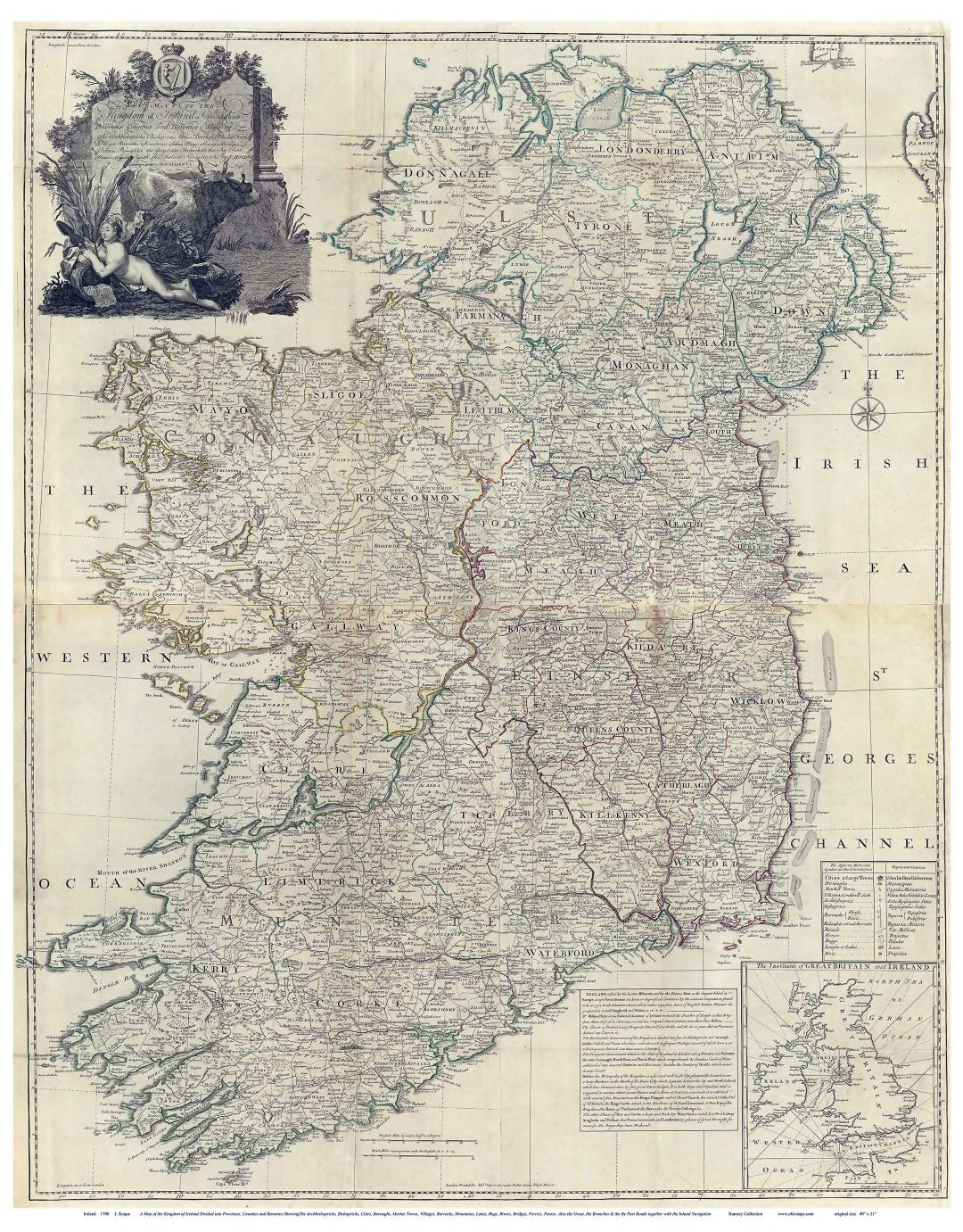 Large old map of Ireland - 1790