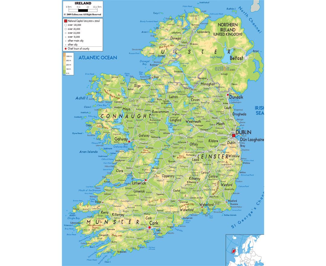 Large physical map of Ireland with roads, cities and airports