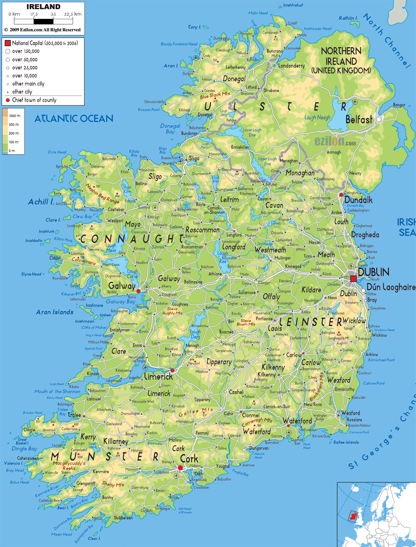 Ireland Map Of Europe.Large Physical Map Of Ireland With Roads Cities And Airports