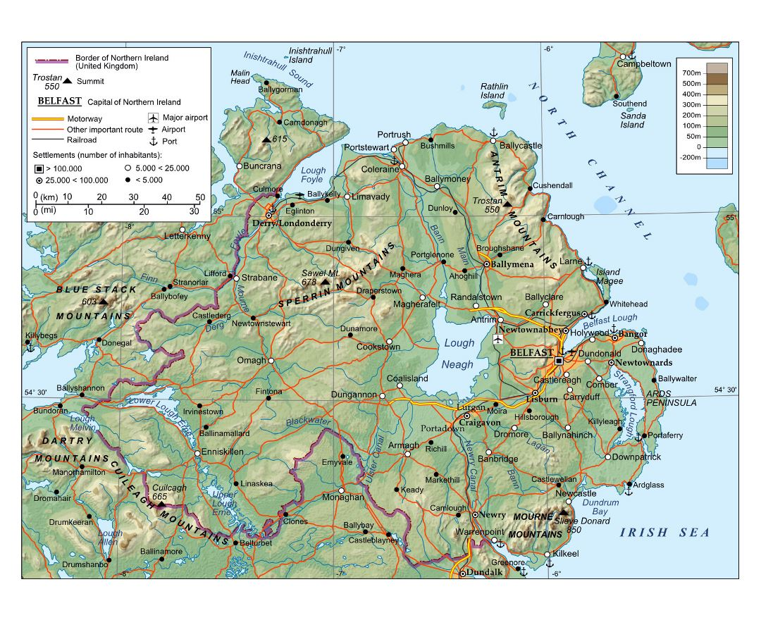Large physical map of Northern Ireland