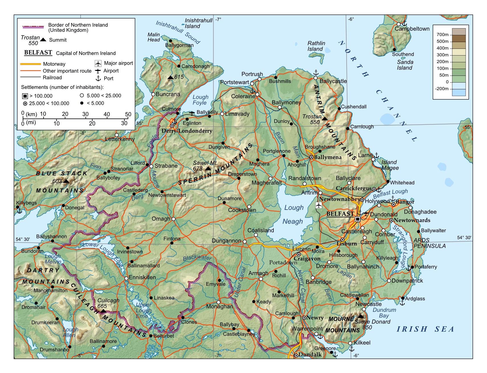 Physical Map Of Ireland.Large Physical Map Of Northern Ireland Ireland Europe Mapsland