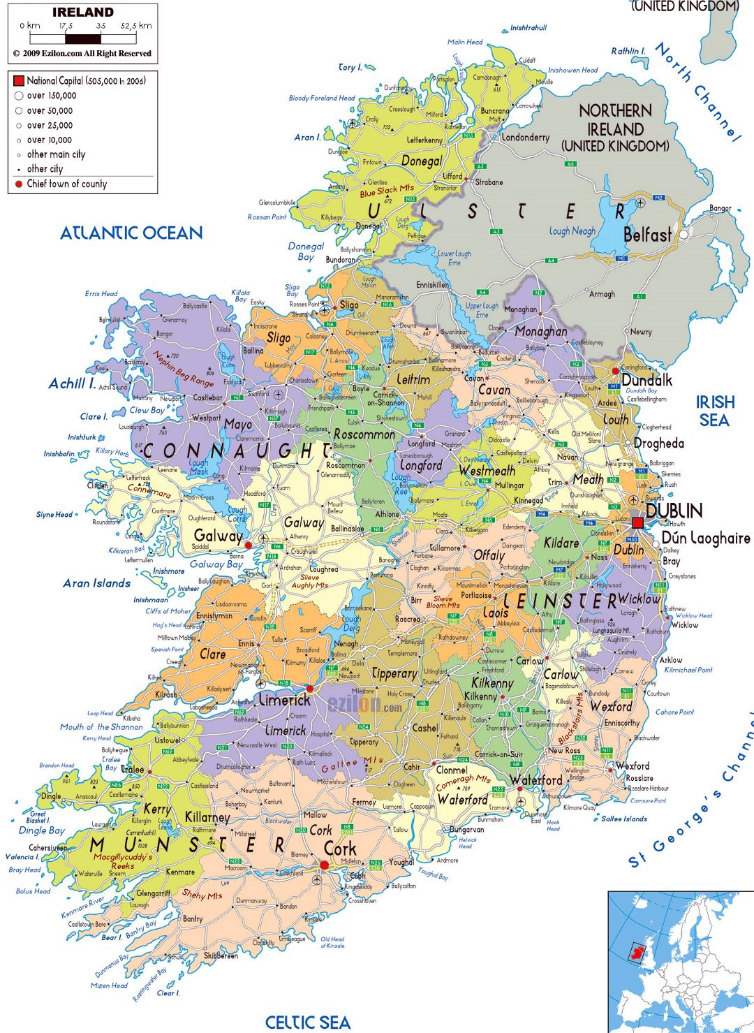 Large political and administrative map of Ireland with roads, cities and airports