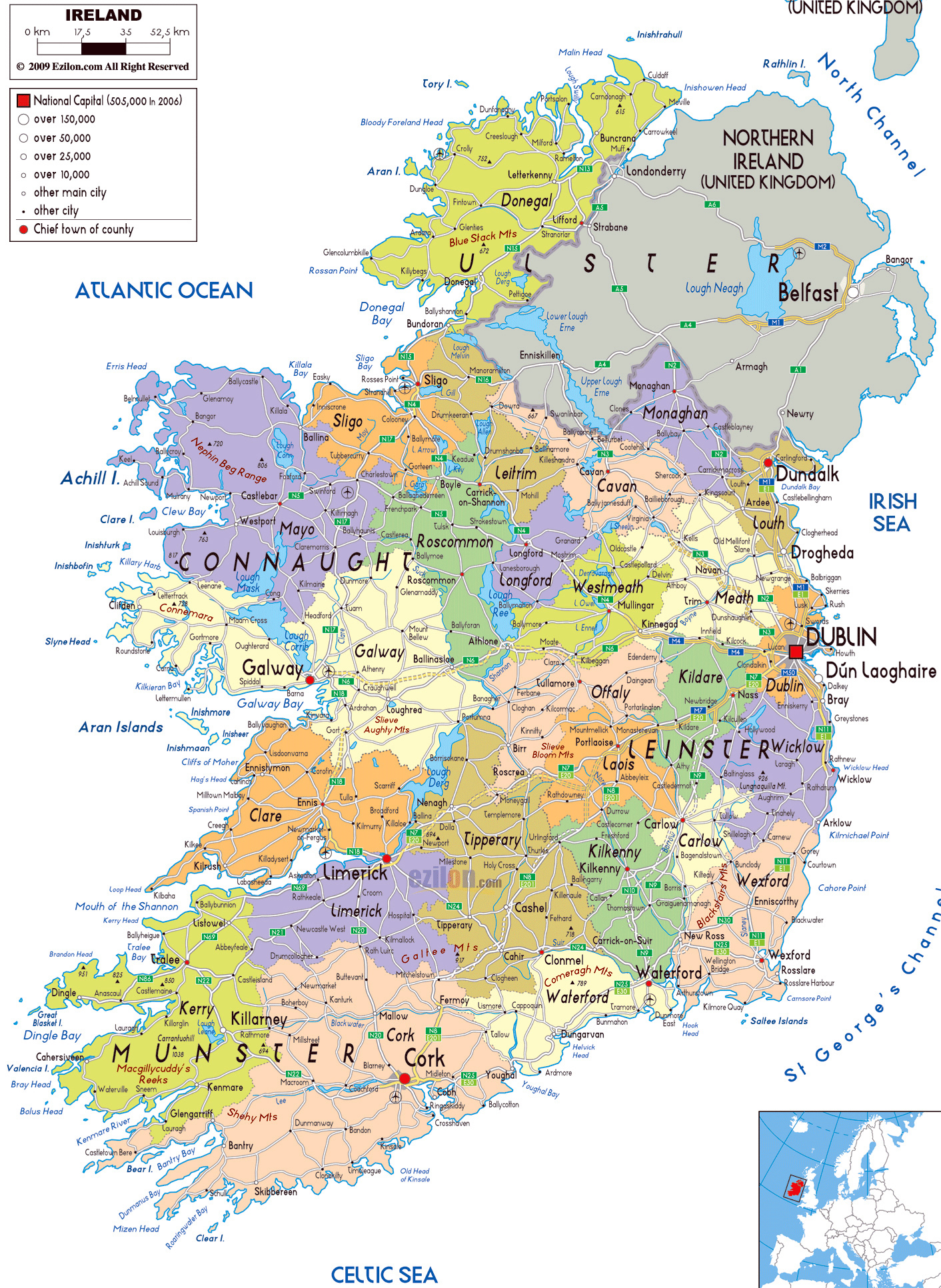 Map Of Ireland With Roads.Large Political And Administrative Map Of Ireland With Roads Cities