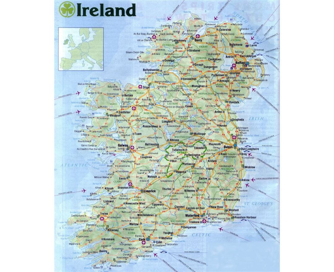 Large road map of Ireland with all cities, airports and roads