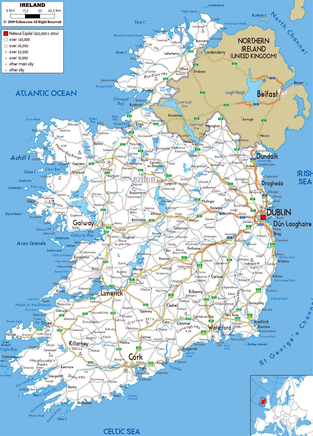 Large road map of Ireland with cities and airports