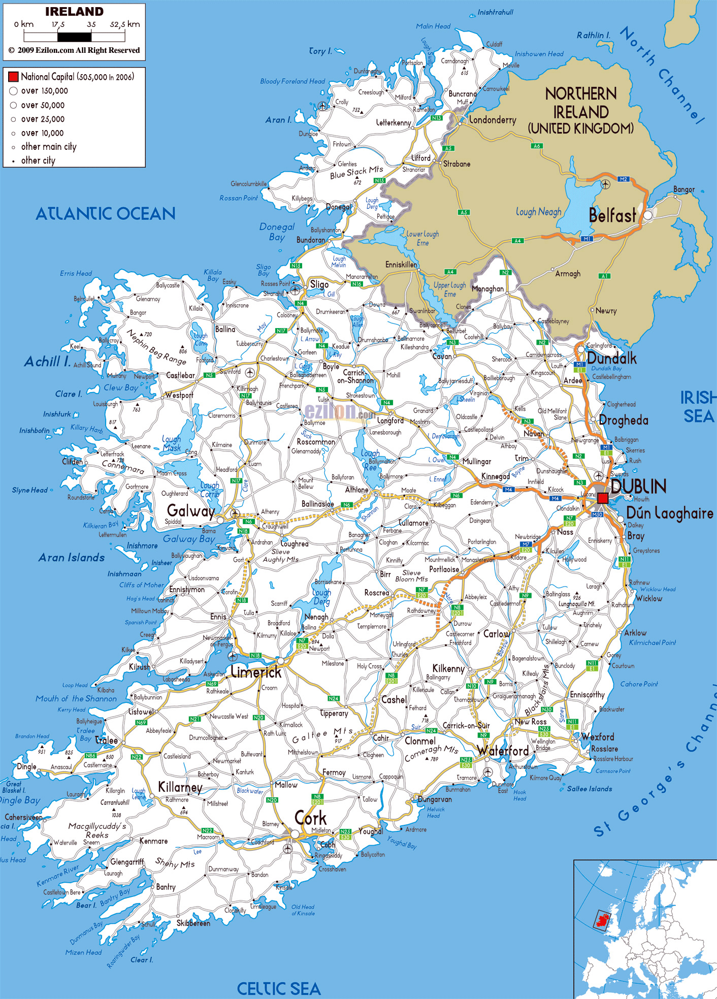Large road map of Ireland with cities and airports | Ireland ...